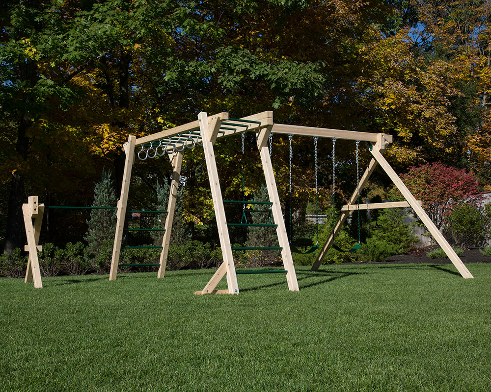 White Cedar monkey bars and swing set with turning bar.