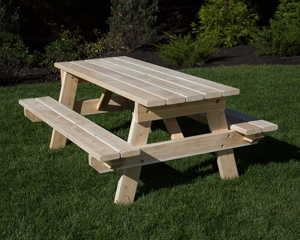 White Cedar Picnic Table 6 Feet Long.