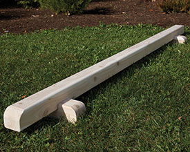 Cedar balance beam for kids.
