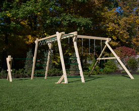 Monkey bars, swing set with rings and a turning bar.