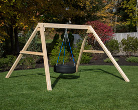 Free standing tire swing.
