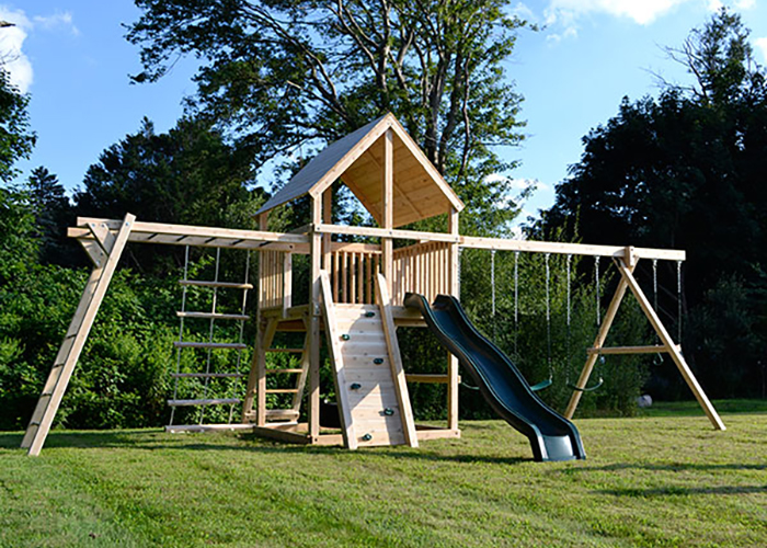 Cedar Swing set with monkey bars in Cohasset, MA.