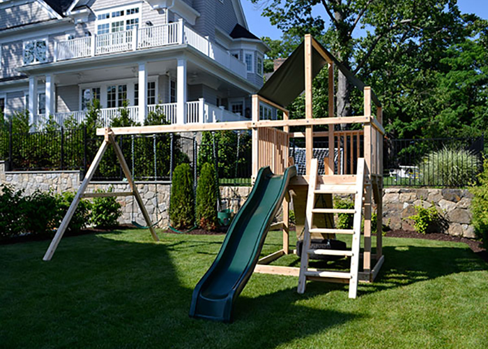 Cedar swing set in Rye, NY.