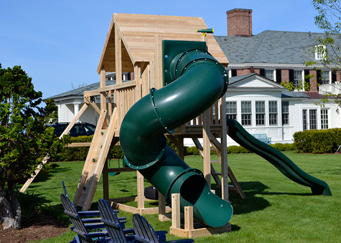 Triumph Play Systems Bailey Deluxe white cedar swing set in North Hampton, NH.