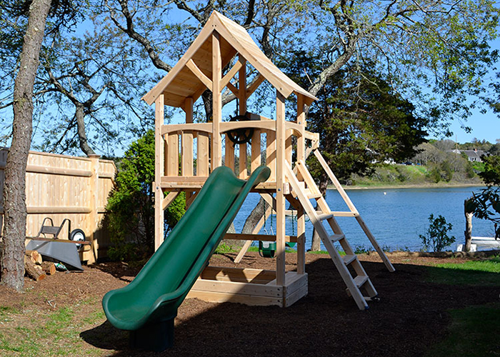 Triumph Play Systems Hanendale swing set with sandbox in North Chatham, NY