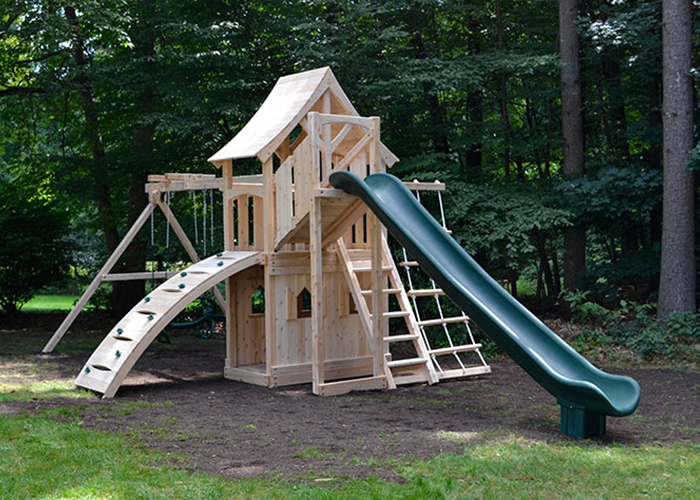 Triumph Play Systems Havendale Climber swing set in Westford, MA.