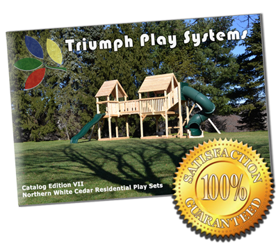 Trumph Play Systems catalog cover with guarantee stamp.