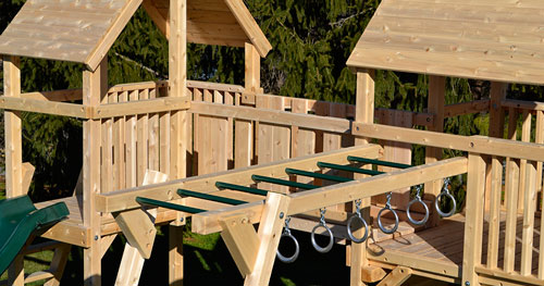Close up of Triumph's Classic cedar swing set.
