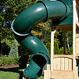 7 Foot deck height 360 degree tube slide for wooden swing sets or playsets.