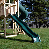 Green double walled rotomoled slide for wooden swing sets.