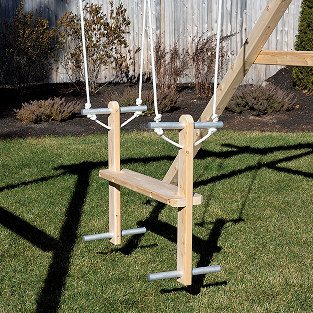 Cedar Glider Swing With Rope And Aluminum Handles