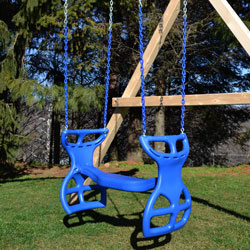Plastic two child glider swing with Vinyl Dipped Chains attacted to a wooden swing set.