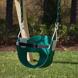 Toddler swing with Vinyl Dipped Chains attacted to a cedar swing set.