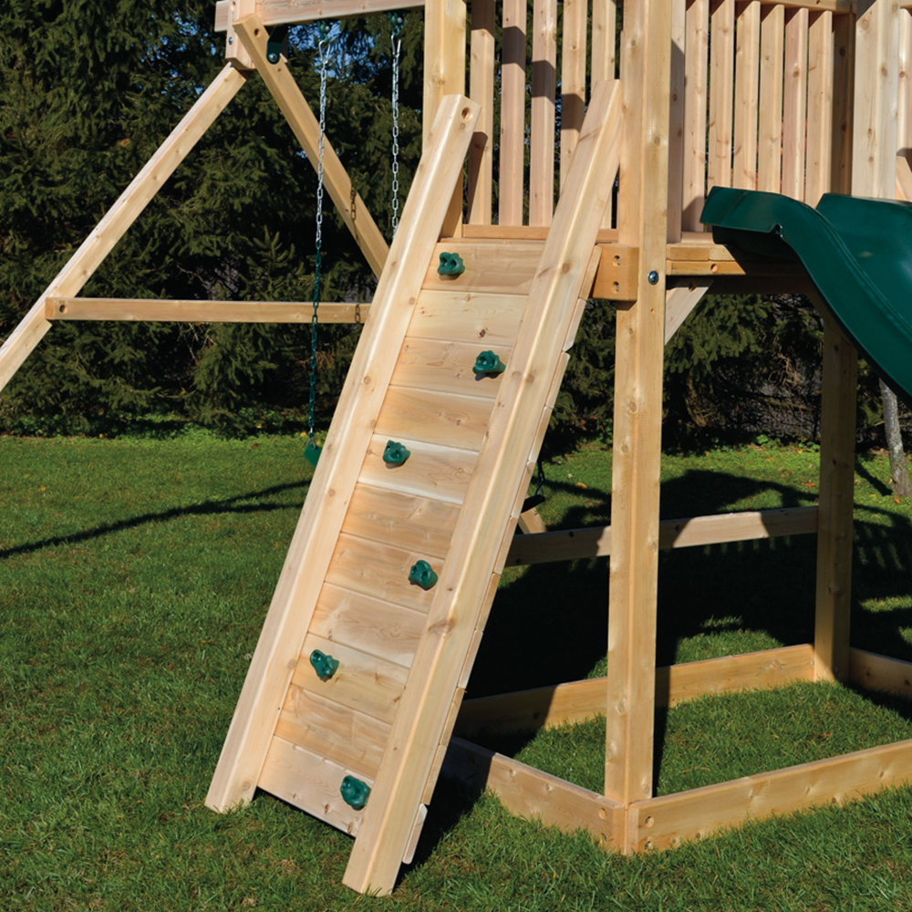 Narrow Wooden Swing Set Rock Wall With Green Holds