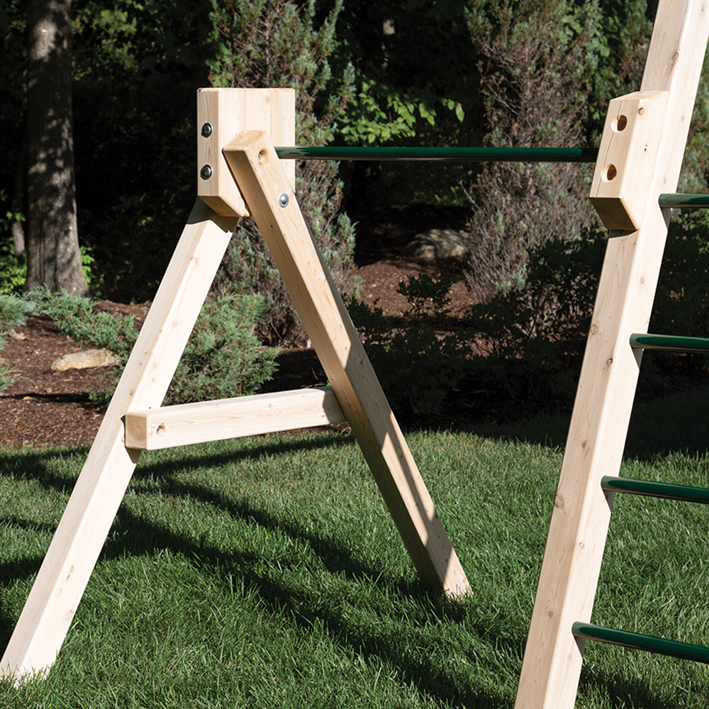 Play set turning bar on cedar swing set.