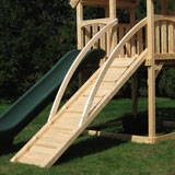 Wooden swing set ramp with arched hand rails.