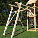 Wooden swing set monkey bars with green steel pipe and angled ladder.