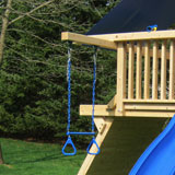 A Wooden swing set arm with a trapeze and handles.