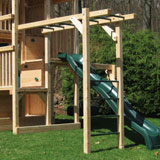 Wooden swing set monkey bars with green steel pipe and vertical ladder.