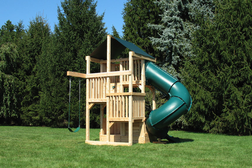Cedar Swing Sets Quad Space Saver Deluxe