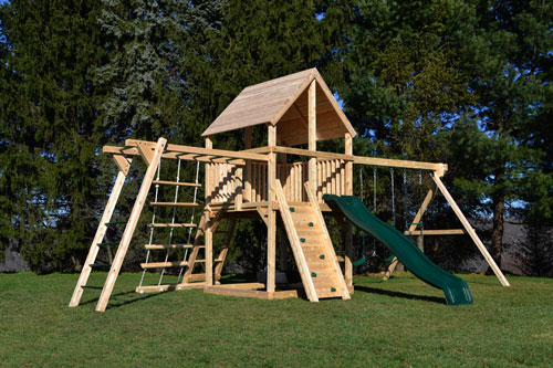 Cedar swing sets with wood roof, monkey bars and wave slide.