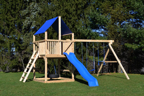 Cedar swing sets with blue canopy roof and blue wave slide.