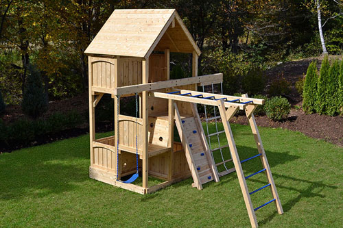 Cedar swing set with wood roof and slide for small yards.