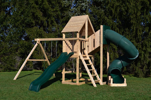 Cedar swing sets with wood roof and green tube slide.