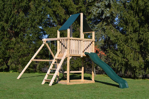 Cedar swing sets with two swings, a green slide and canopy roof.