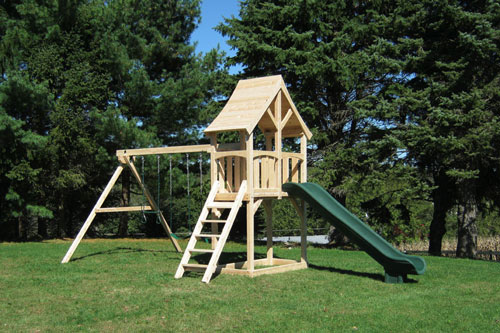 Cedar swing set with arched wood roof, two swings and a green scooop slide.