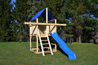 Cedar swing sets with blue canopy roof and slide for small yards.
