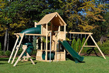 Cedar swing set with five levels, wood roof, fire pole and large scoop slide.