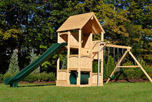 Cedar swing set with five levels includes a wood roof and a fire pole.