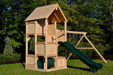 Cedar swing set with five levels, wood roof, crawl tube and slide.