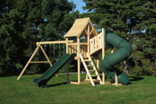Cedar swing set with arched wood roof and tower - plus a green tube slide.