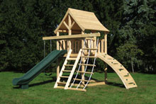 Cedar swing set for small yards with arched wood roof and green scoop slide.