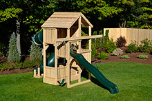 Multi level swing swing set for small yards with a tube slide.