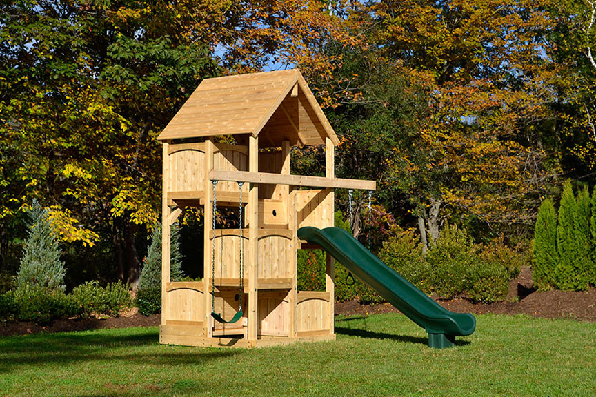 swing sets for small spaces cedar swing sets canterbury space saver 8419