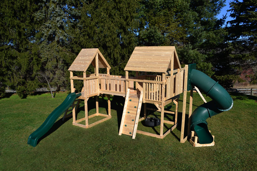 Triumph Play System's classic double double cedar swing set with bridge.