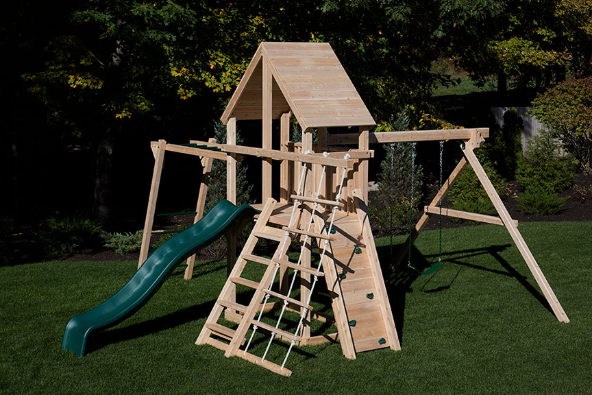 Cedar swing set dumore climber with options.