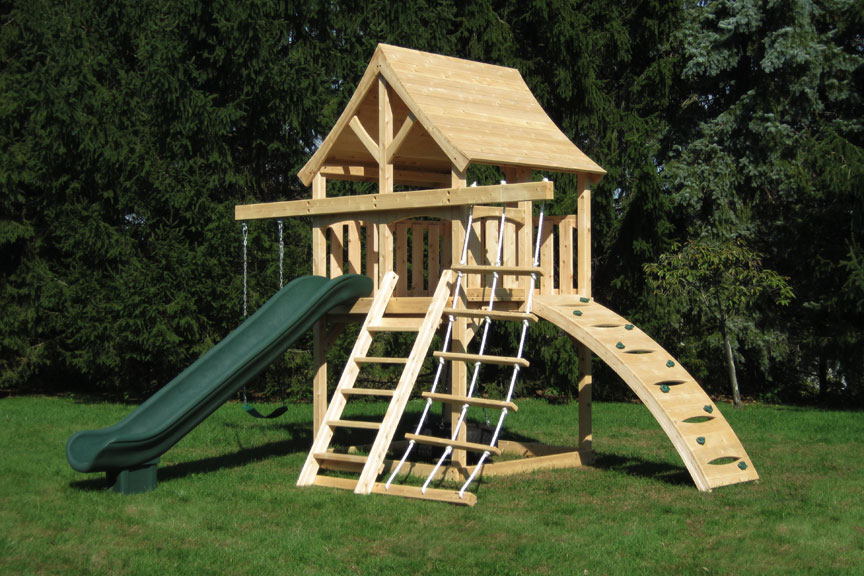 Cedar swing sets the kelton space saver climber for Tire play structure