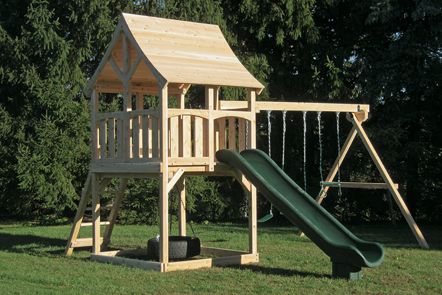 Triumph Play System's basic Kelton cedar swing set with wood roof.