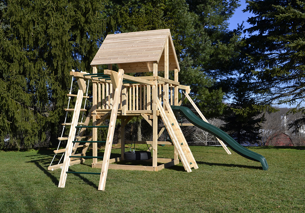 Triumph Play System's Bailey swing set with tire swing and large play deck.