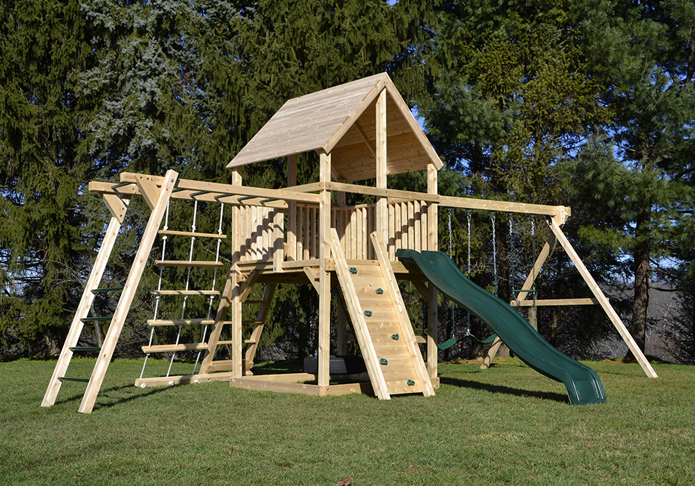 Cedar swing sets the bailey climber with options for Diy play structure