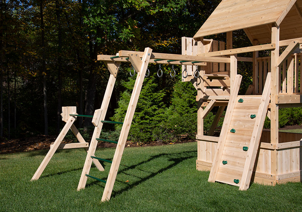 Cedar Monkey Bars with rings.