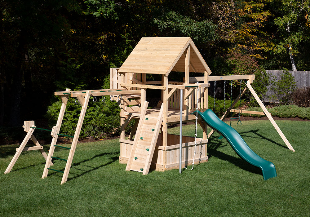 Cedar Swing Set with everything including monkey bars and a lookout.