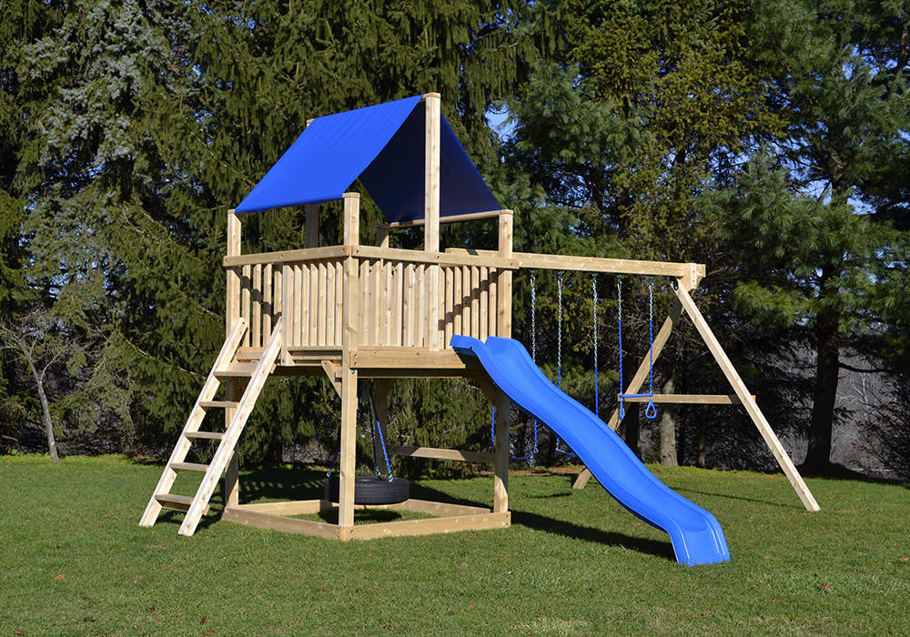 triumph play bailey wooden swing set with tire swing and super large play deck - Cedar Swing Sets