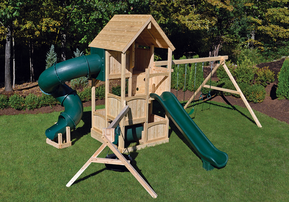 triumph play bailey wooden swing set with tire swing and super large play deck