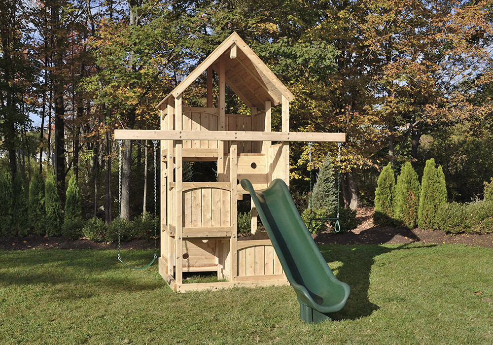 Triumph Play System's Canterbury Space Saver swing set for small yards.