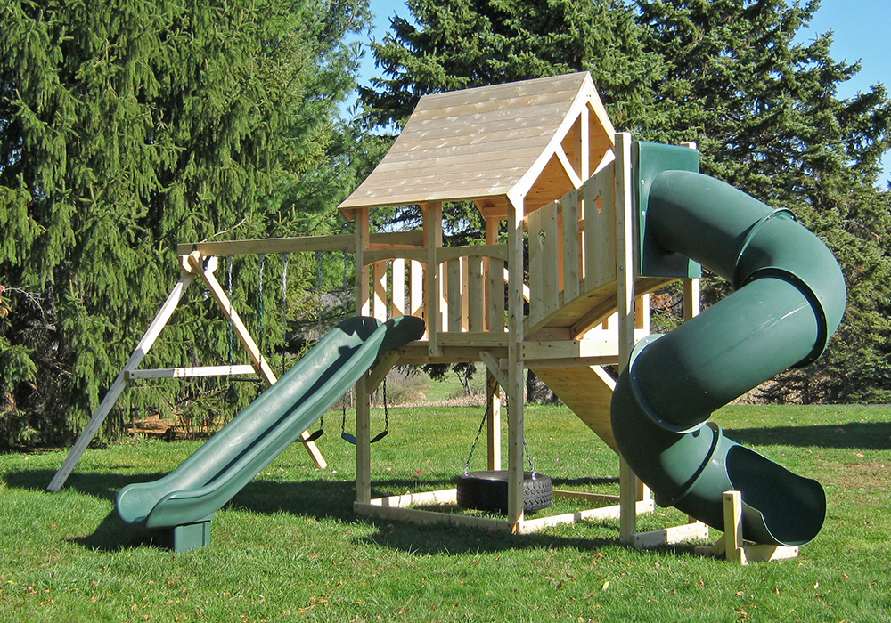 Triumph Play System's kelton deluxe cedar swing set with ramp and tube slide.